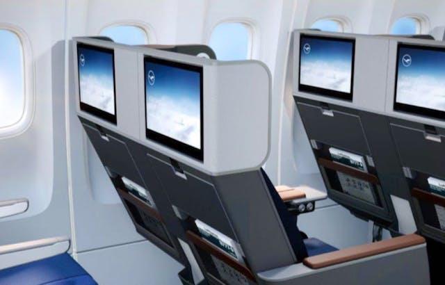 Det nye Premium Economy-sæde i Lufthansa. Illustration: Lufthansa