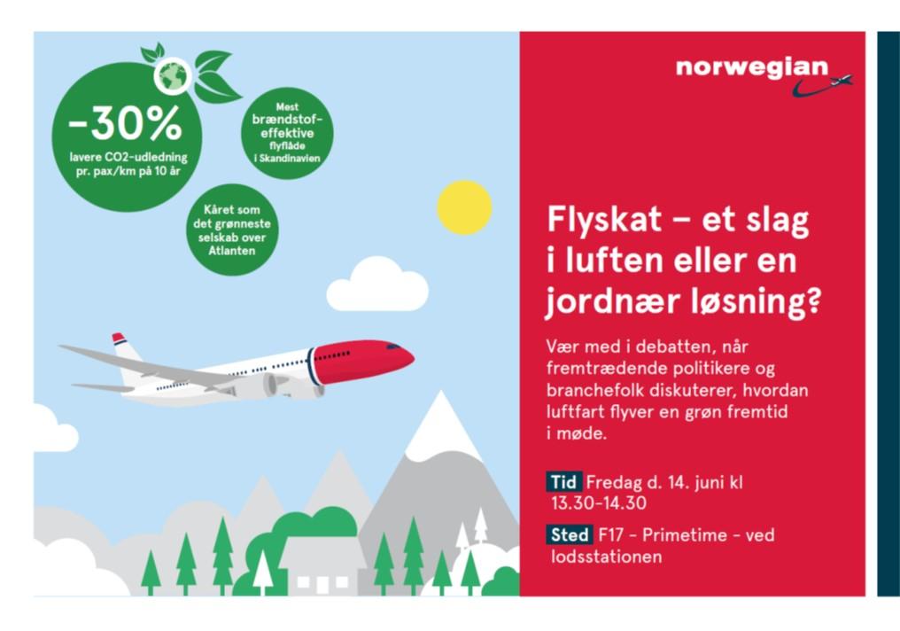 Norwegian paneldebat om flyskat på Folkemødet (illustration: Norwegian)