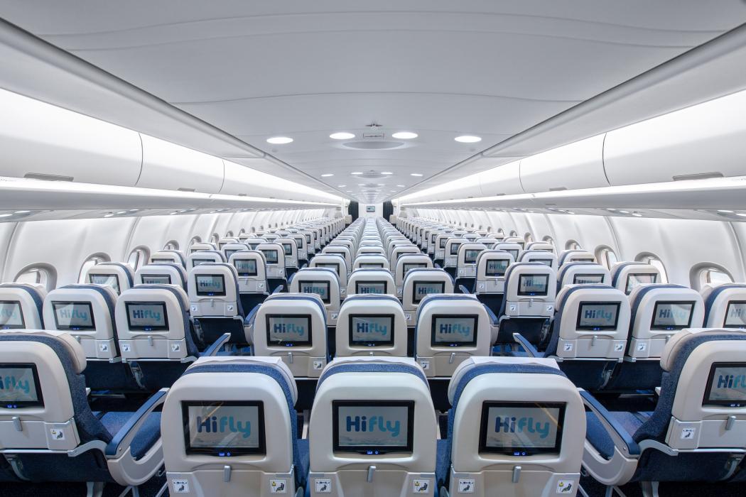 Hi Fly har indrettet sin nye Airbus A330-900neo med i alt 371 sæder – heraf 353 på Economy Class. Foto: Hi Fly