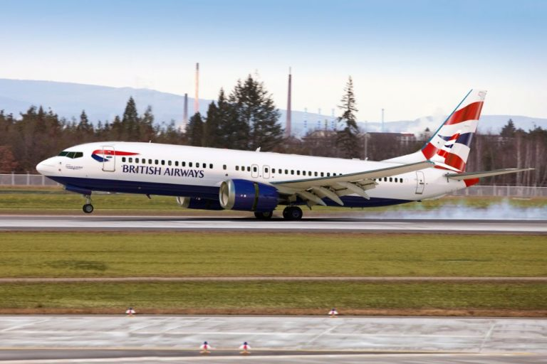 Boeing 737 MAX 8 fra sydafrikanske Comair, der er franchisepartner for British Airways. (Foto: Boeing/PR)