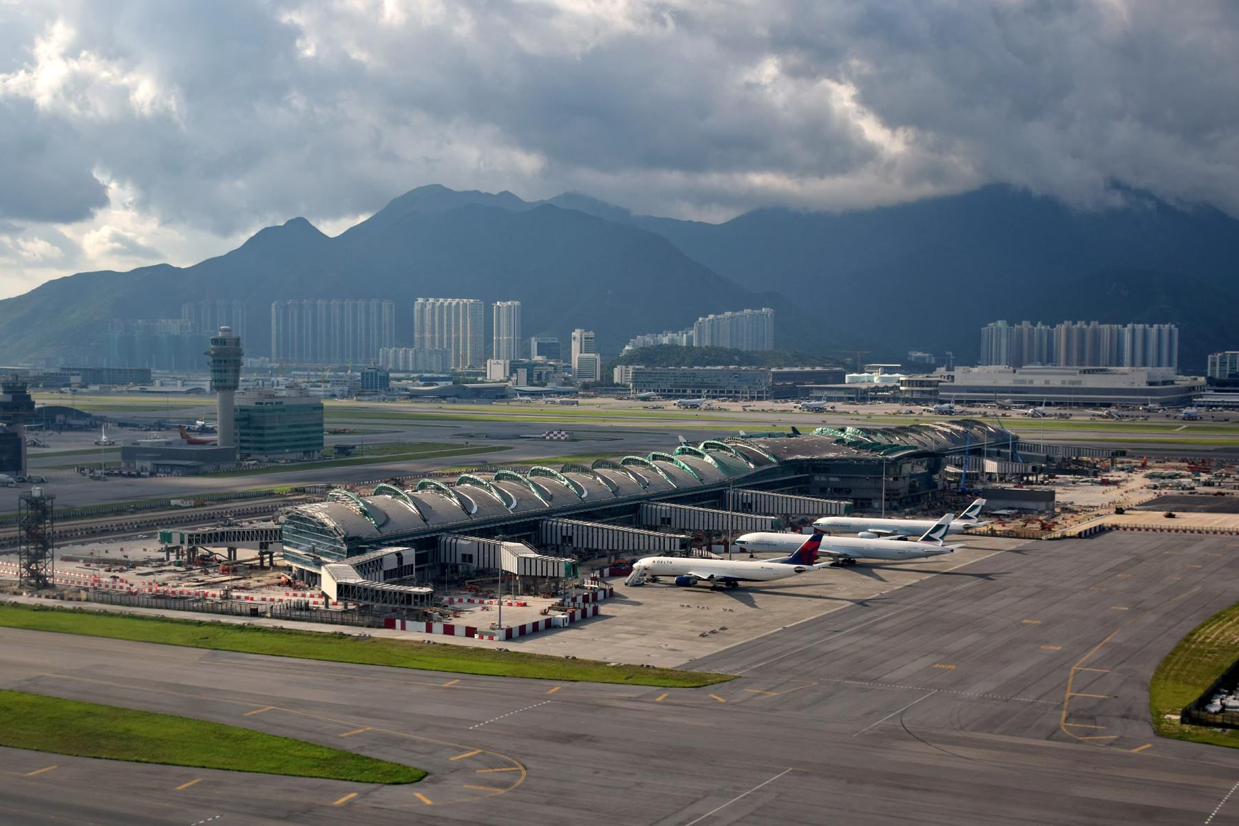 Hong Kong International Airport er ramt af en masse flyaflysninger. Foto: Baycrest