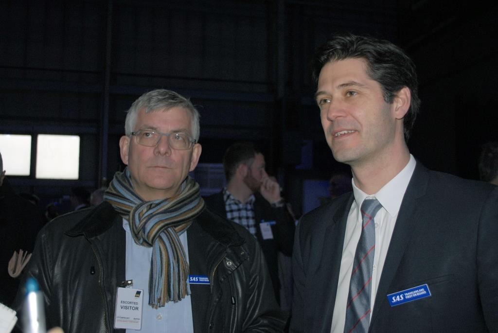 Tidligere SAS-koncernchef Jørgen Lindegaard t.v. og Simon Pauck Hansen, kommende konderndirektør i SAS. (Foto: Preben Pathuel)