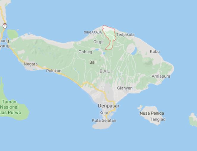 Bali får en lavprislufthavn i det nordlige af øen (i det markerede område). Øens nuværende internationale lufthavn ligger ved Denpasar i syd. Foto: Google Maos