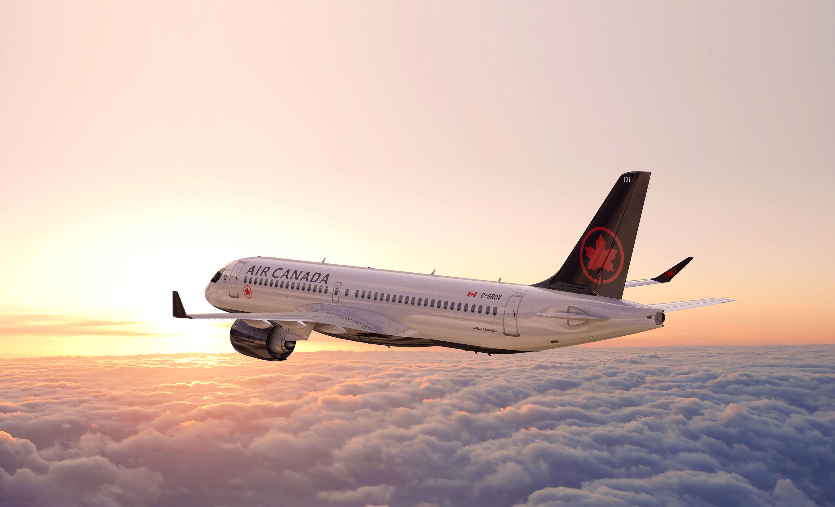 Air Canada står til at modtage 45 fly af typen Airbus A220-300. Foto: CNW Group/Air Canada