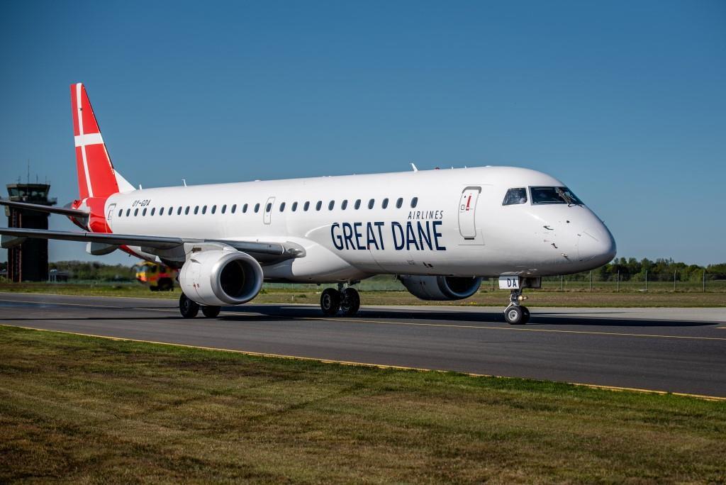 Embraer ERJ-195LR fra Great Dane Airlines. (Foto: Anders Torp)