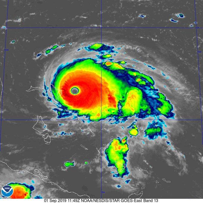 Satellitfoto af orkanen Dorian. (Foto: US National Hurricane Center)