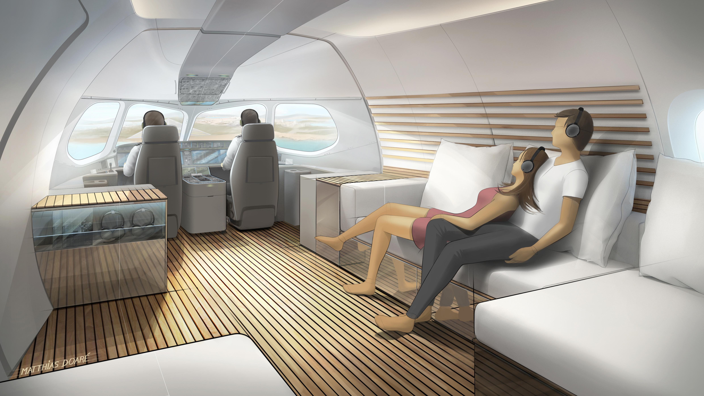 Lufthansa Technik har udviklet et nyt VIP-kabinedesign til en Airbus A220, hvor passagererne blandt andet kan se ud gennem cockpittets vinduer. Skitse: Lufthansa Technik
