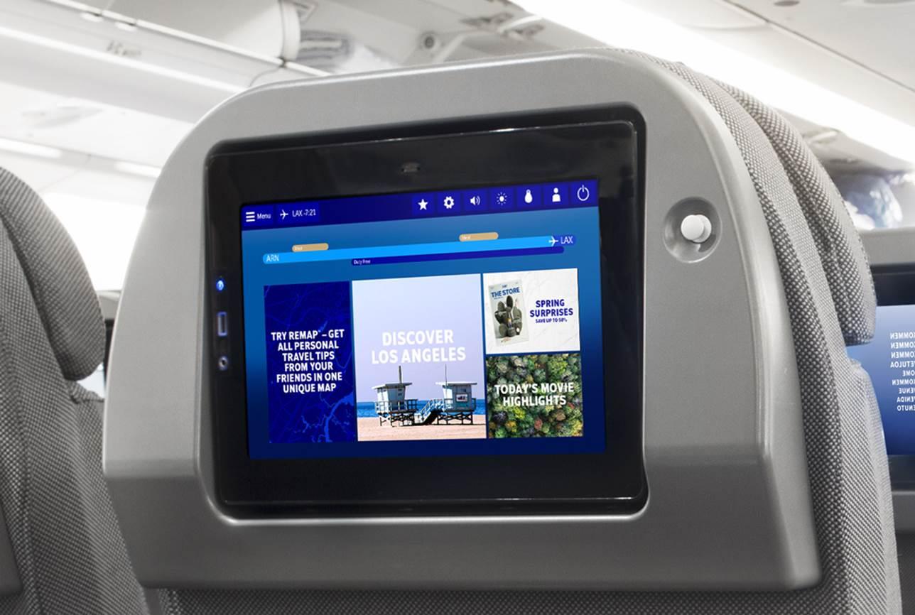 Skærmen til IFE-underholdningssystemet på SAS' nuværende Airbus A330'ere. Foto: SAS