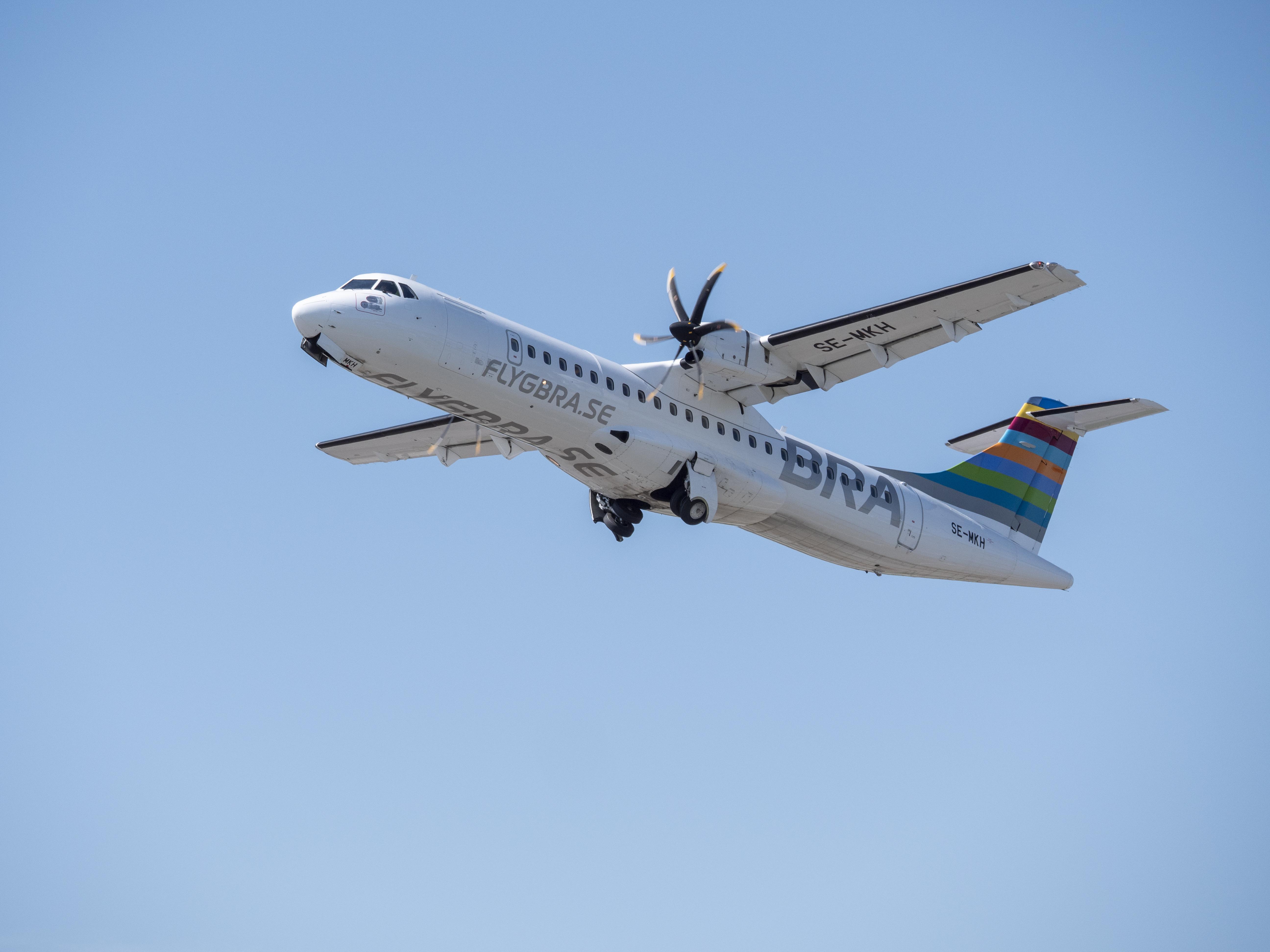 En ATR 72-600 fra det svenske regionale flyselskab BRA. Foto: BRA