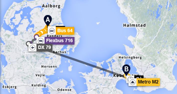 Eksempel på rejserute fra Hobro til København med indenrigsfly på en del af strækningen.