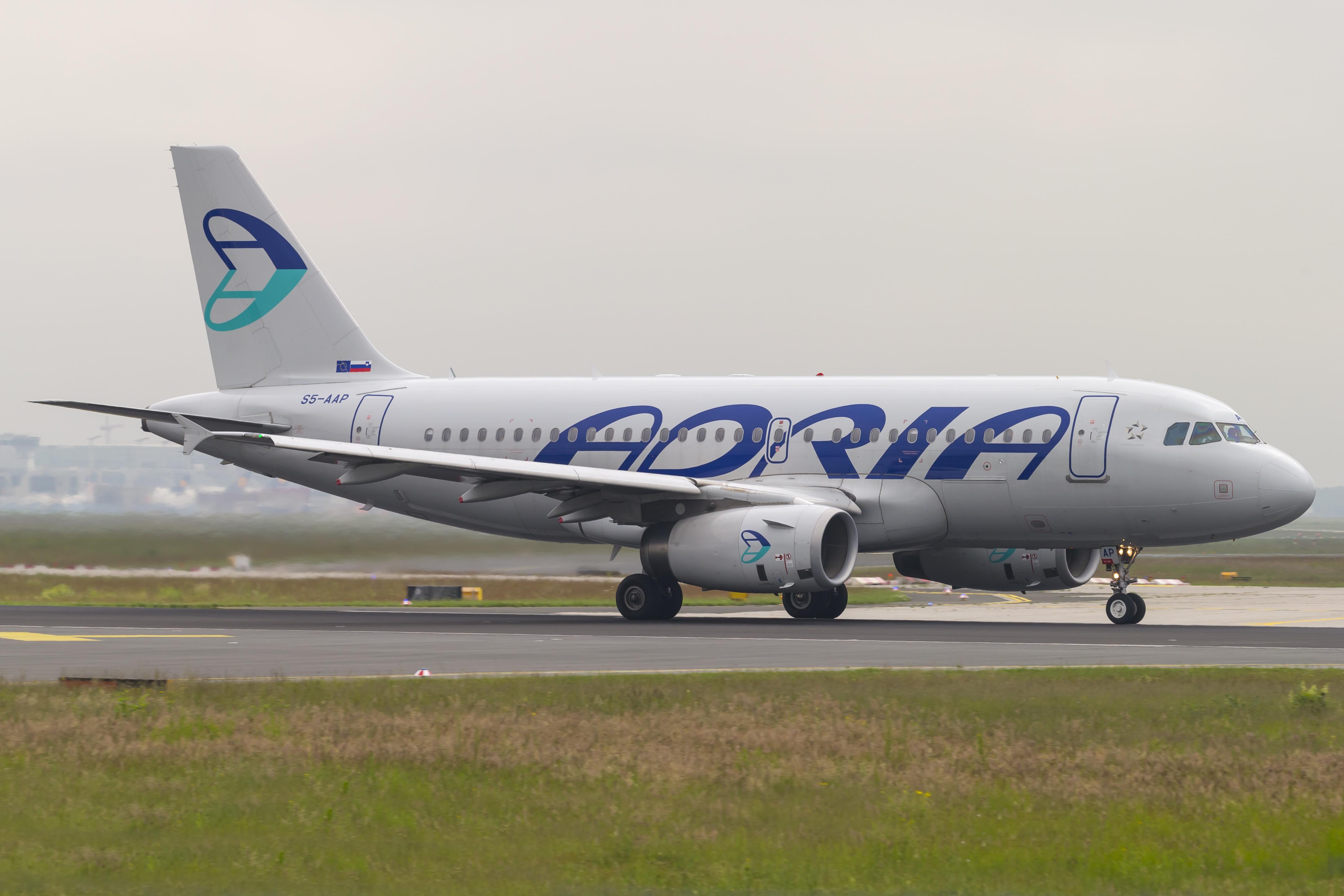 En Airbus A319-100 fra det nu konkursramte slovenske flyselskab Adria Airways. Foto: © Thorbjørn Brunander Sund, Danish Aviation Photo