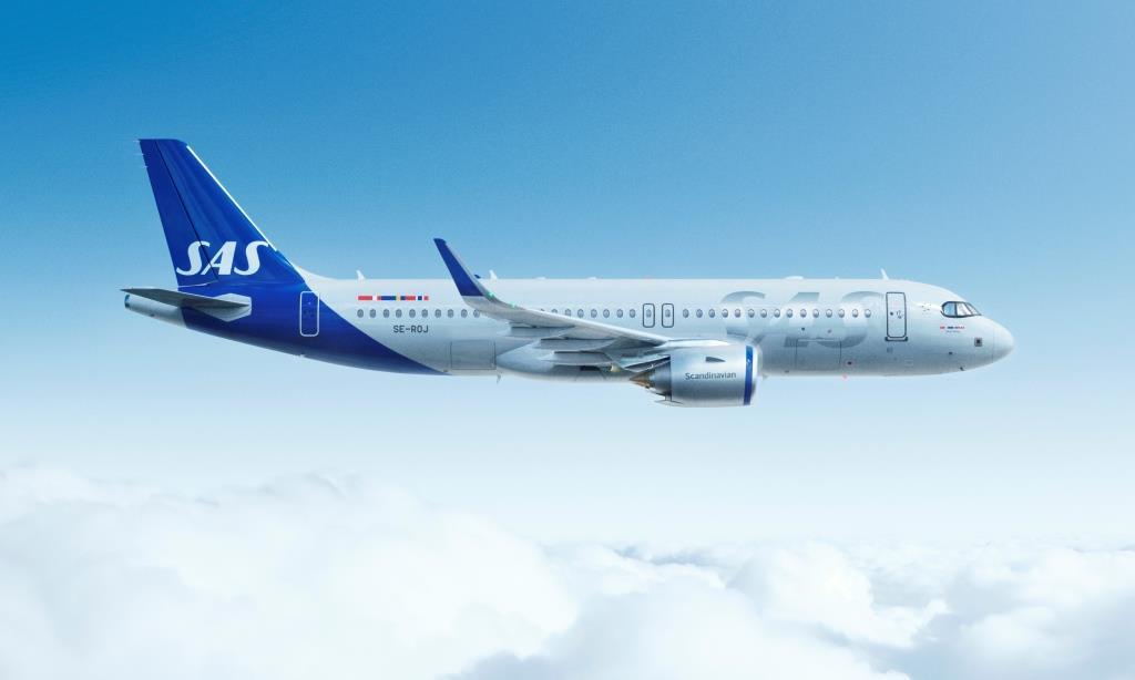 SAS Airbus A320neo i nyt 'livery'.
