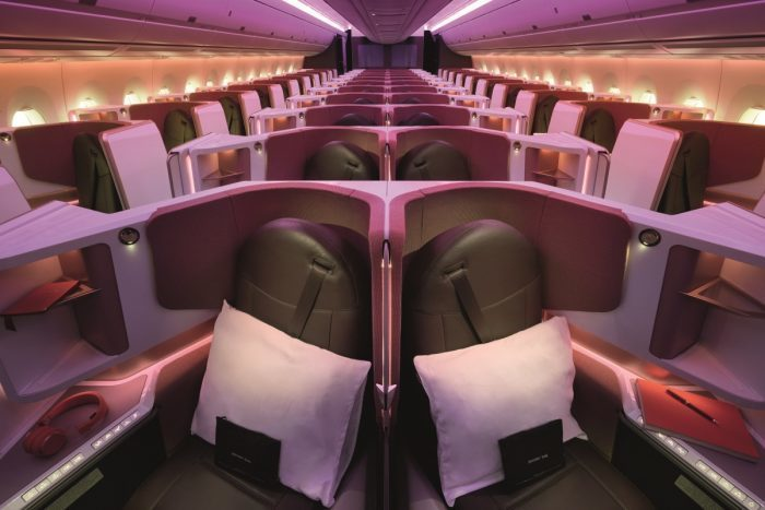 Upper Class-kabinen på Virgin Atlantics nye Airbus A350-1000. Foto: Virgin Atlantic