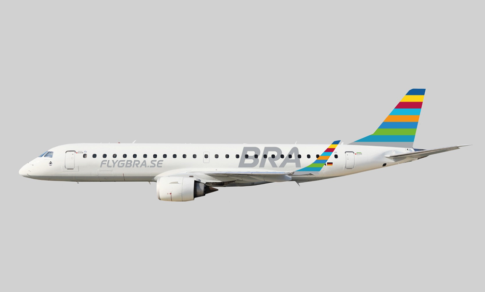 Embraer E190 fra tyske WDL Aviation (German Airways) i BRA-bemaling. (Grafik: BRA | PR)