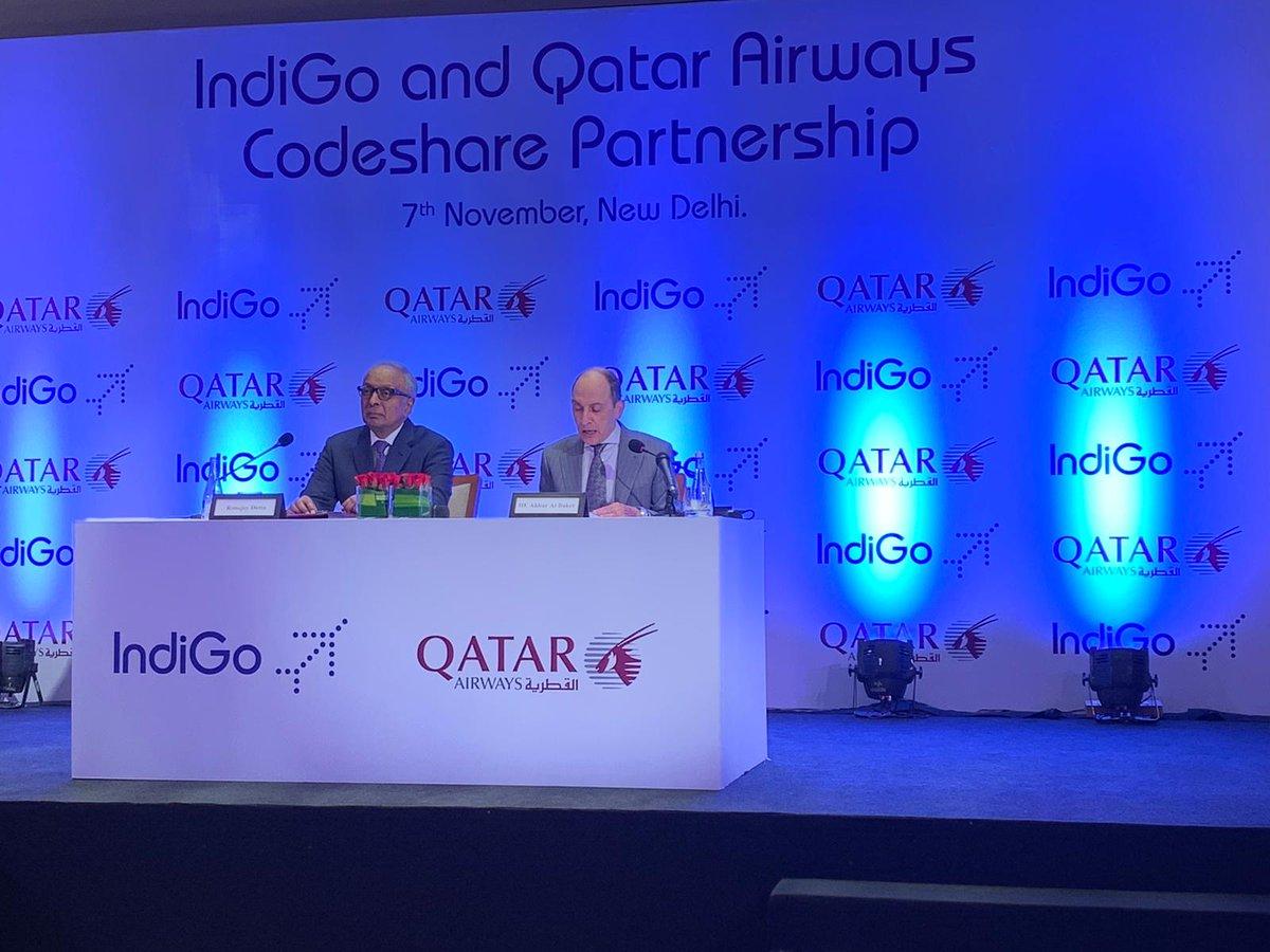 IndiGo og Qatar Airways præsenterer nyt samarbejde. (Foto: Qatar Airways | Twitter)