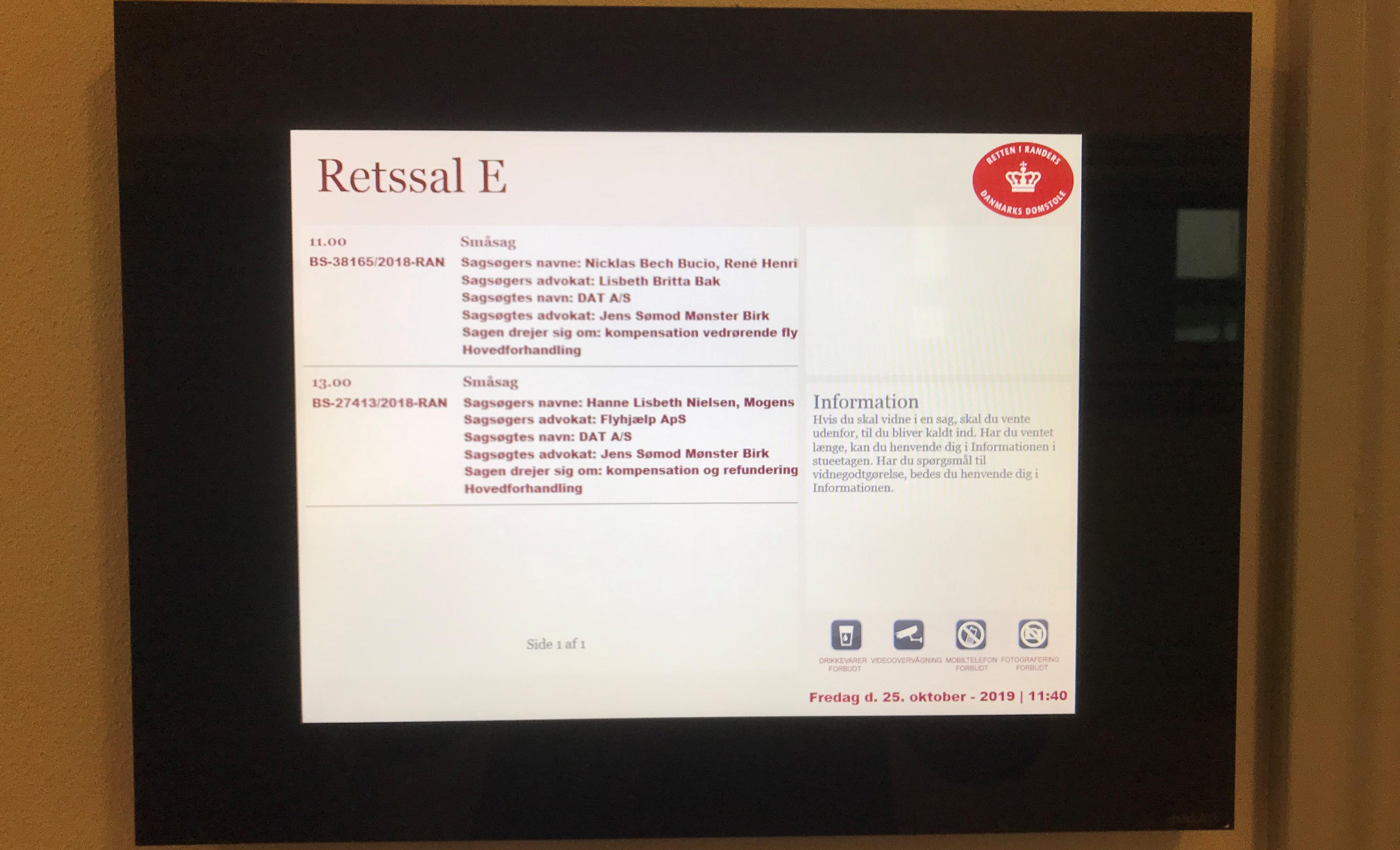 Hovedforhandling i sagsnr. BS-27413/2018-RAN, Retssal E, Retten i Randers. (Foto: Ole Kirchert Christensen)