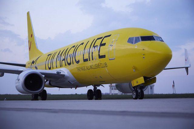 Boeing 737-800-flyet, som Jet Time overtager fra TUIfly har hidtil haft en særlig gul bemaling. Foto: TUI