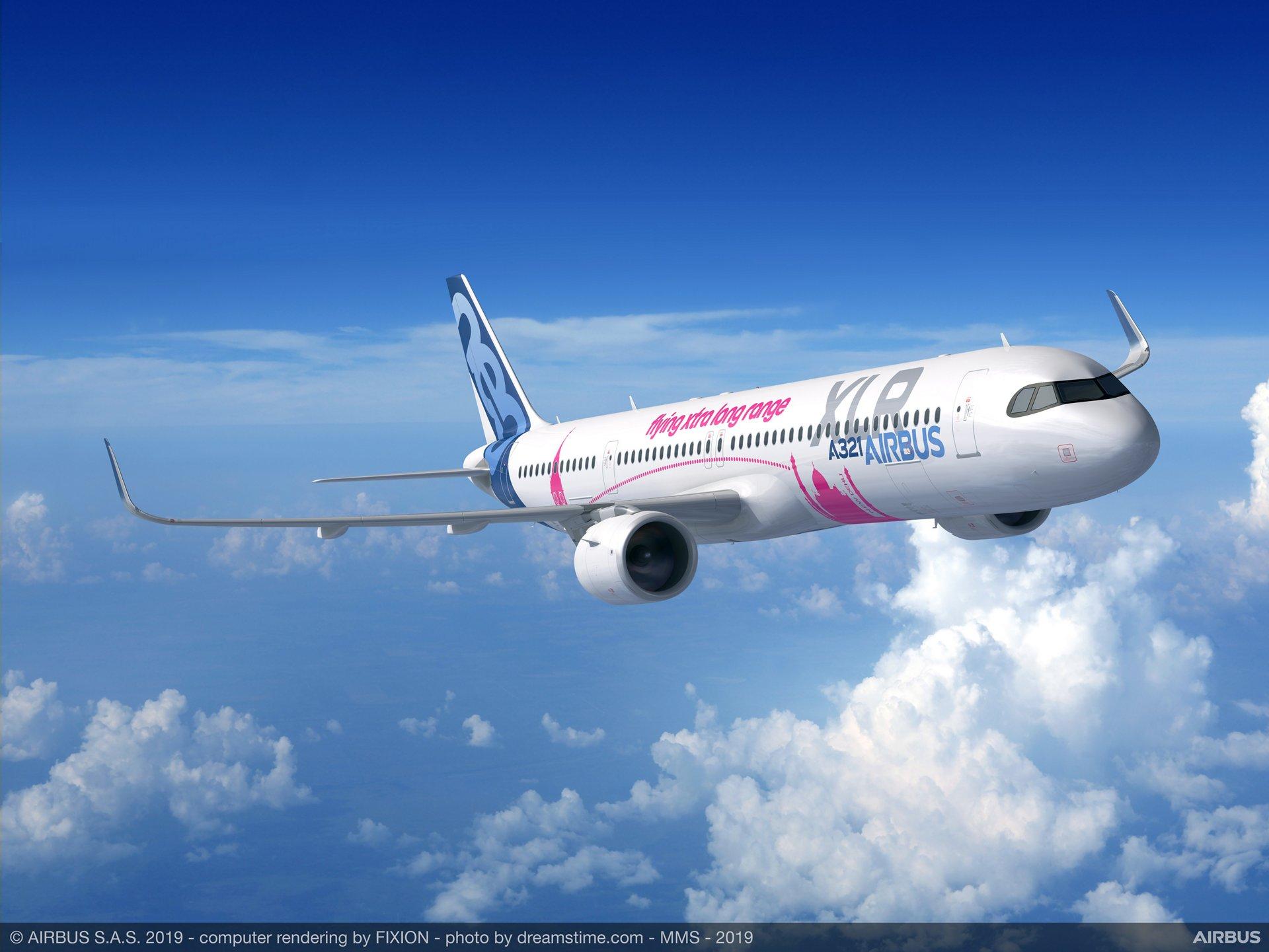 En model af den nye ultra-langtrækkende version, Airbus A321XLR. Foto: Airbus