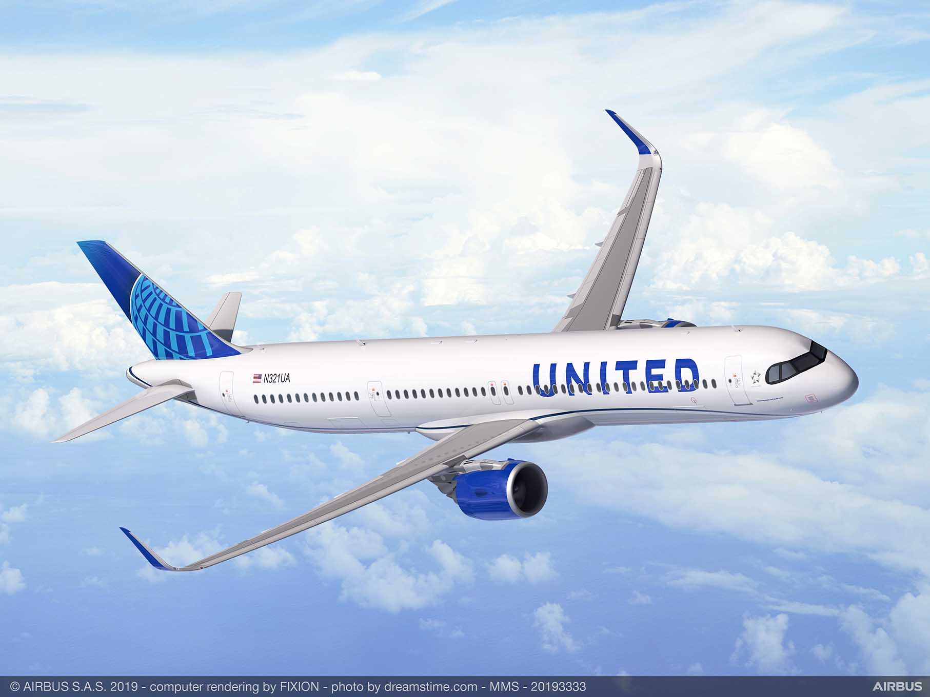 United Airlines har lagt ordre på 50 Airbus A321XLR. Foto: Airbus