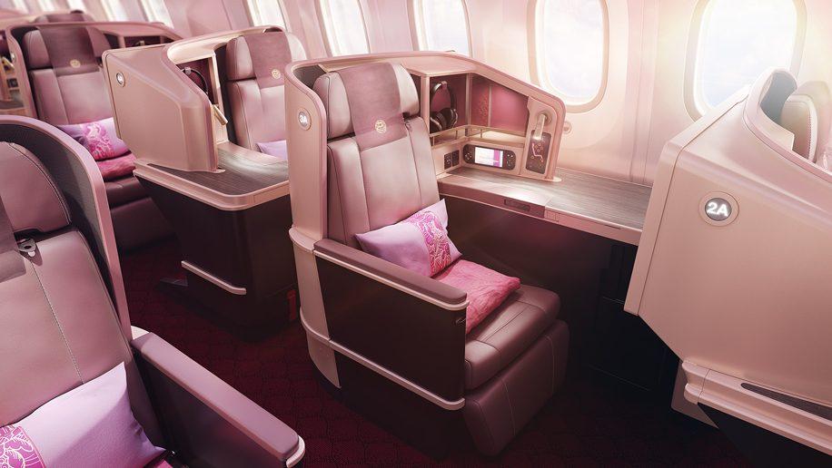 Business class-kabinen i Boeing 787 Dreamliner fra Juneyao Airlines. (Foto: Juneyao Airlines   PR)