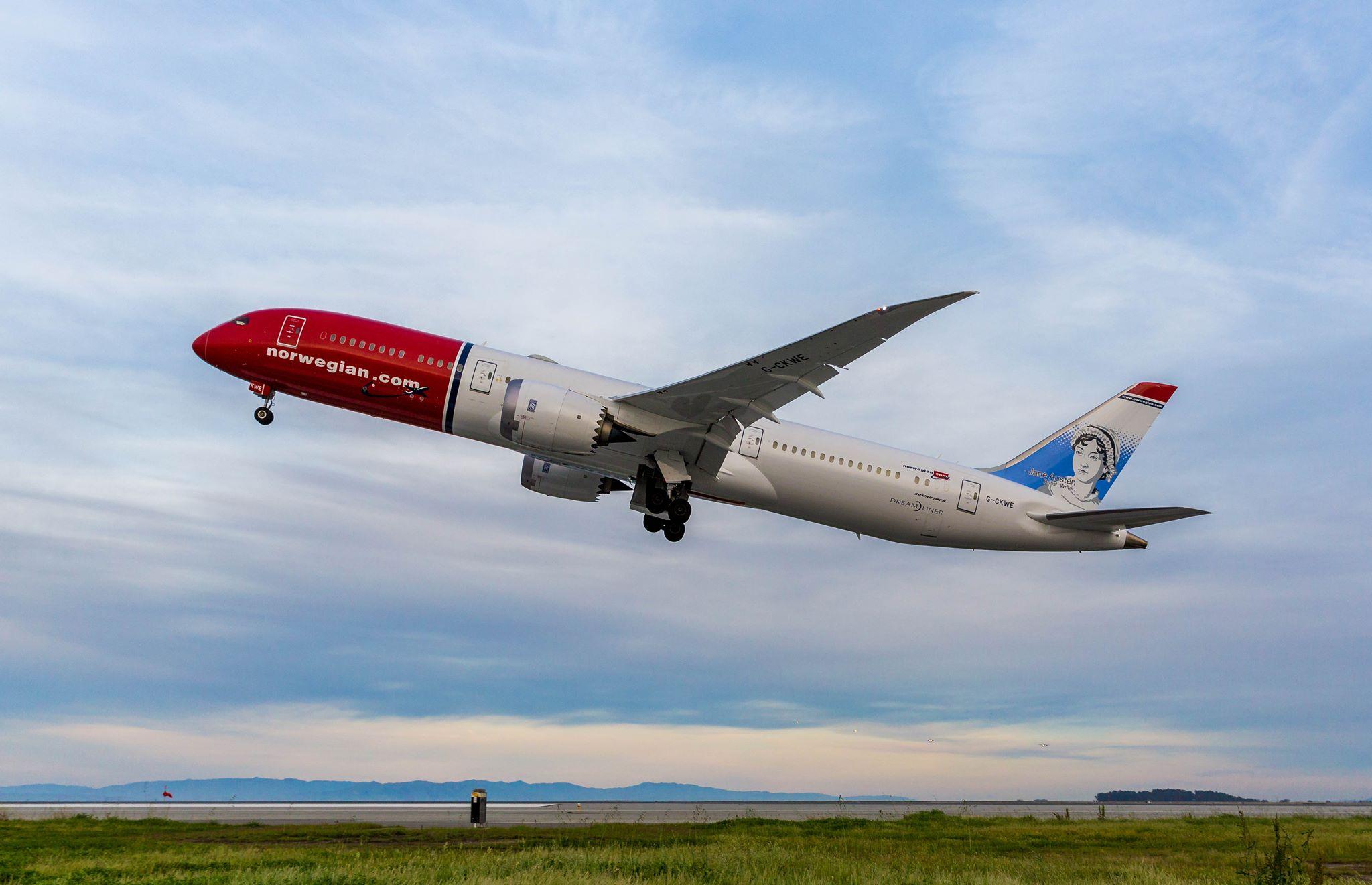 Norwegian Boeing 787 Dreamliner ved start fra San Francisco International Airport. (Foto: SFO | Facebook)