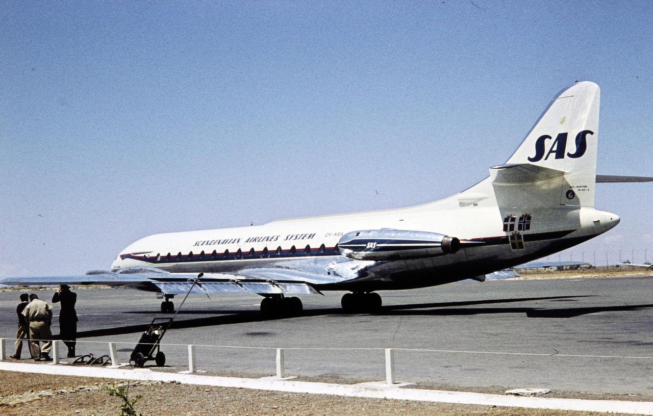 Første jetfly til SAS var Caravelle SE210-III med registreringen OY-KRA og navnet Vagn Viking. (Foto: Digit – ukendt fotograf)