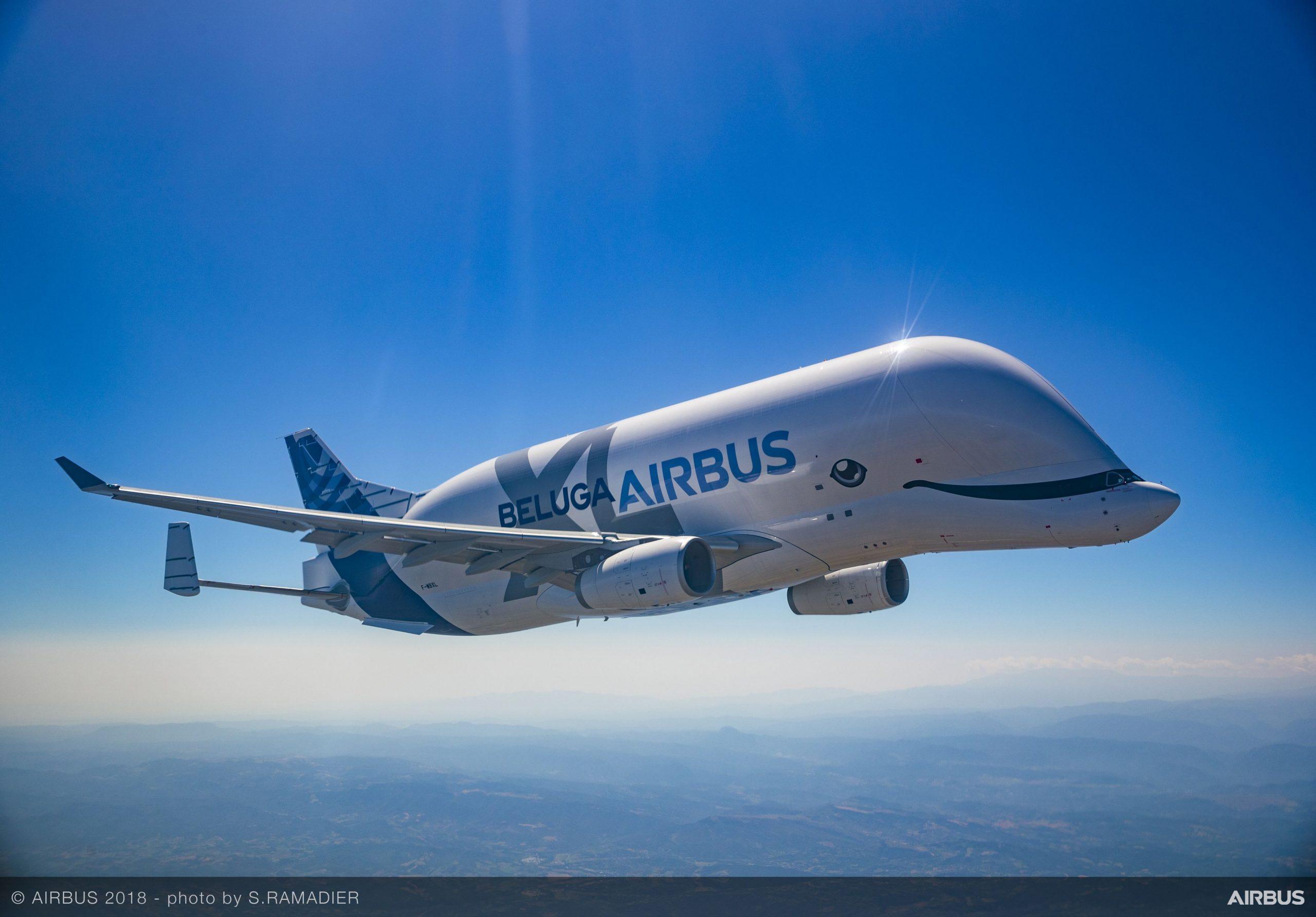 Airbus' nye transportfly, BelugaXL, blev sat i drift den 9. januar. Foto: Airbus