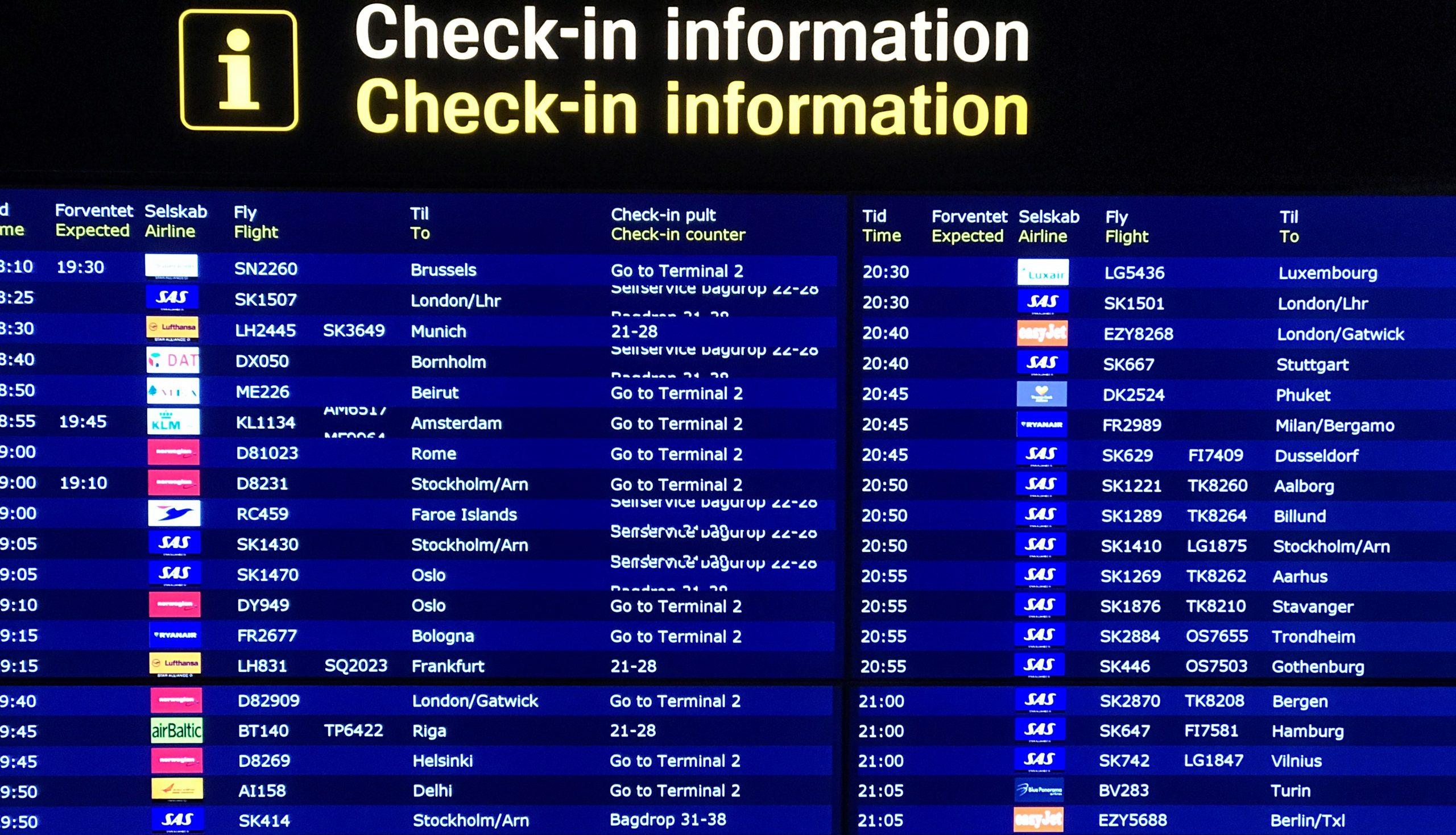 Afgangstavle i Københavns Lufthavn. (Arkivfoto: Ole Kirchert Christensen)