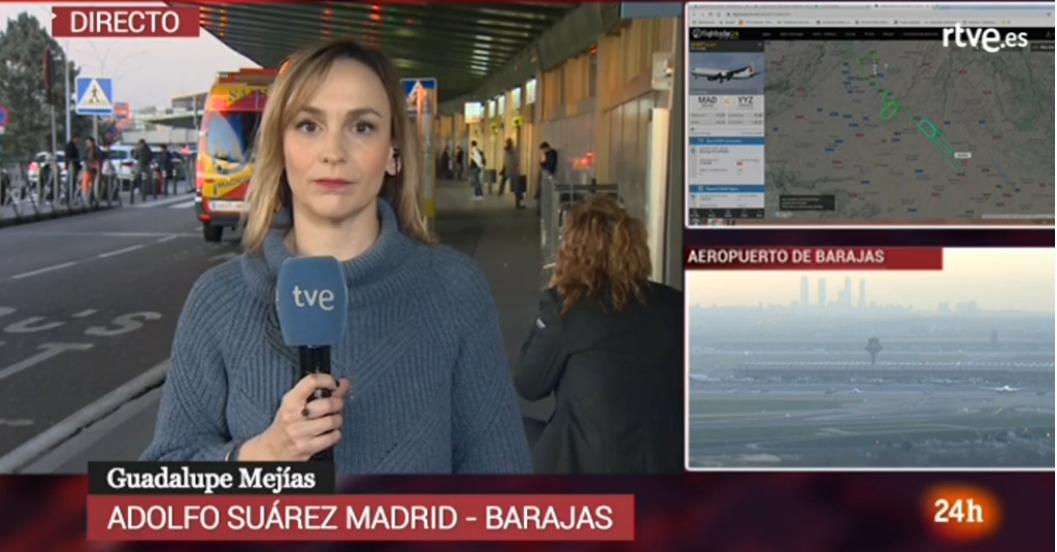 Den spanske TV-station tve Directo fulgte AC837 i flere timer.