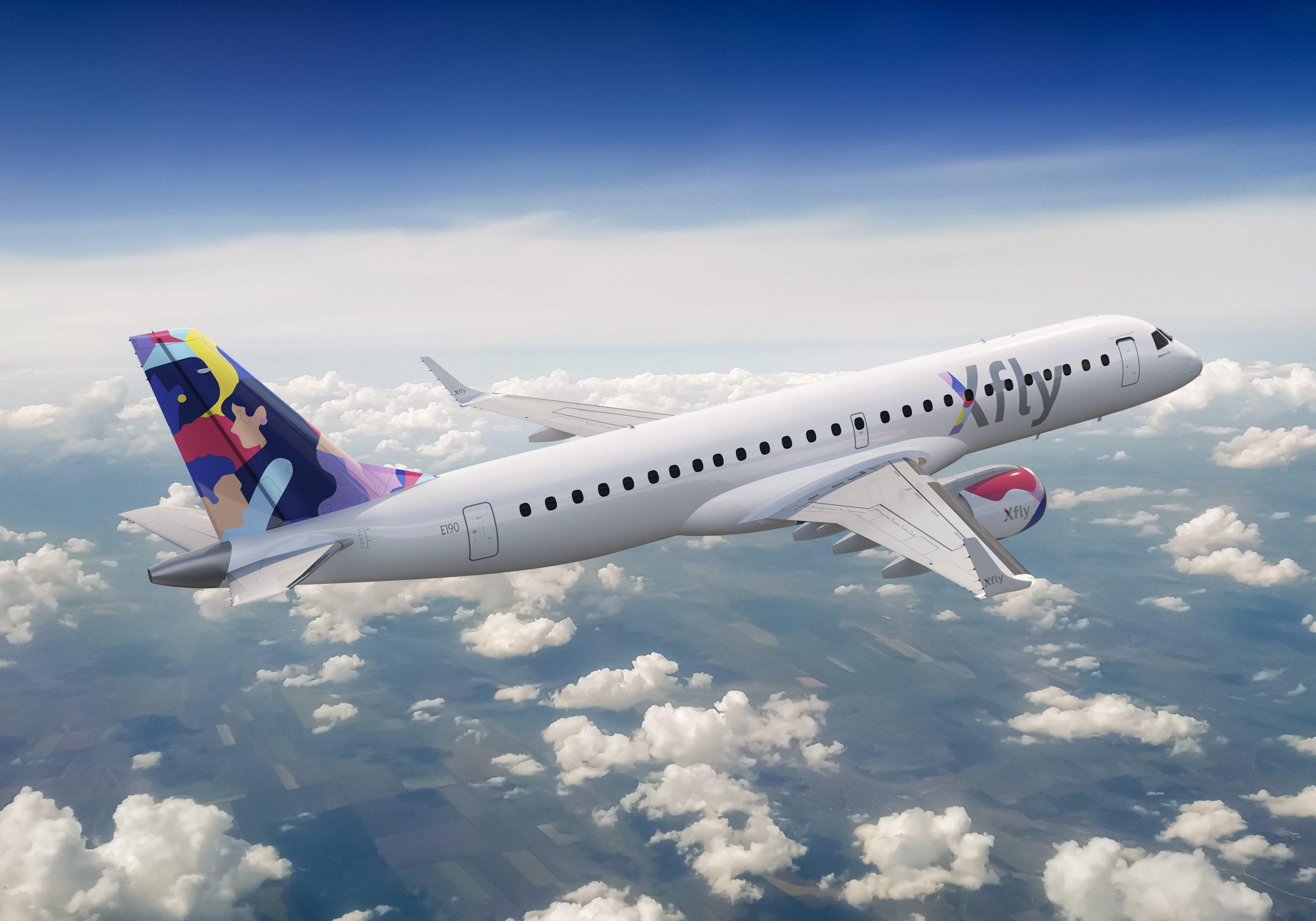 Embraer E-190 i  Xfly-farver. (Fotoillustration | Xfly)
