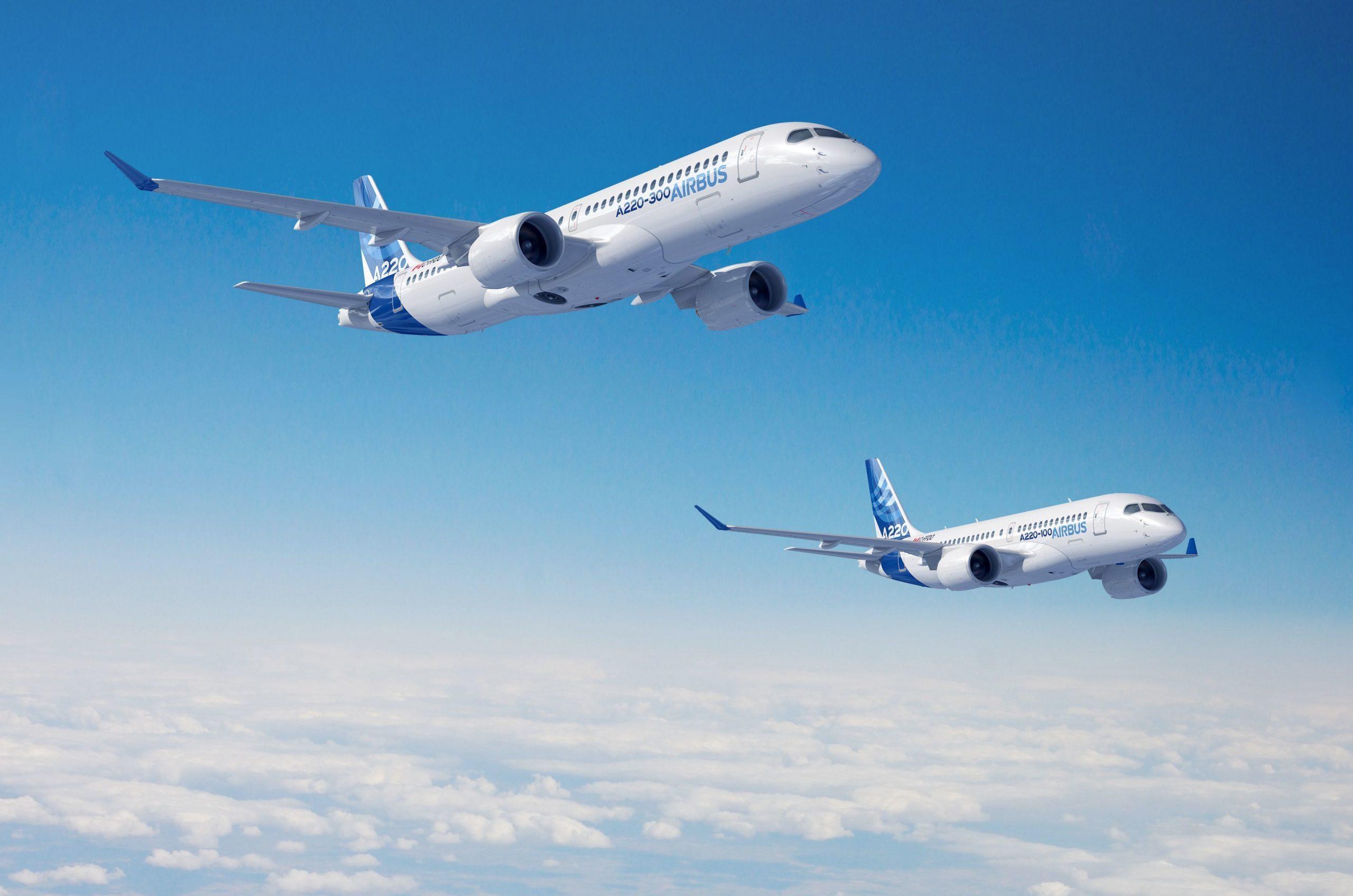 Airbus A220-programmet består af de to versioner -100 og -300. Foto: Airbus