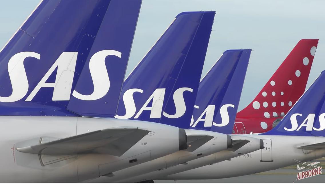 SAS-fly i Københavns Lufthavn. (Foto: Airborne Cinematics)
