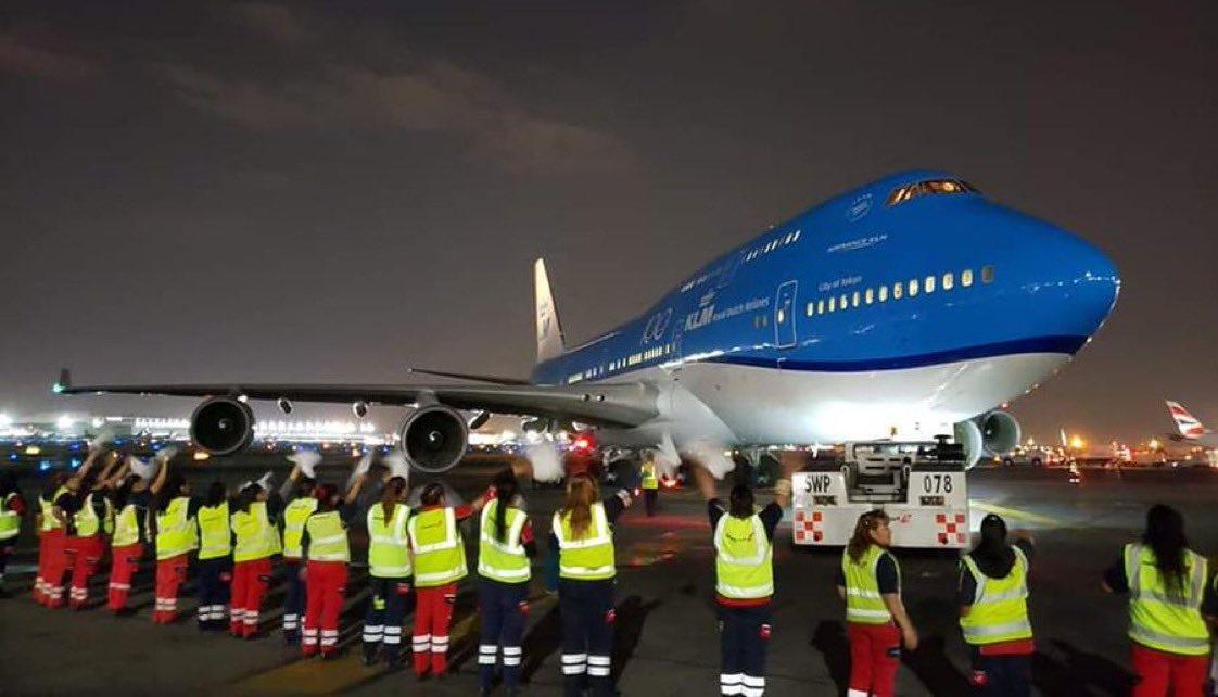 Sidste KLM Boeing 747 forlader Mexico City (PH-BFT) den 28. marts 2020. (Foto: Menno Swart | Twitter)