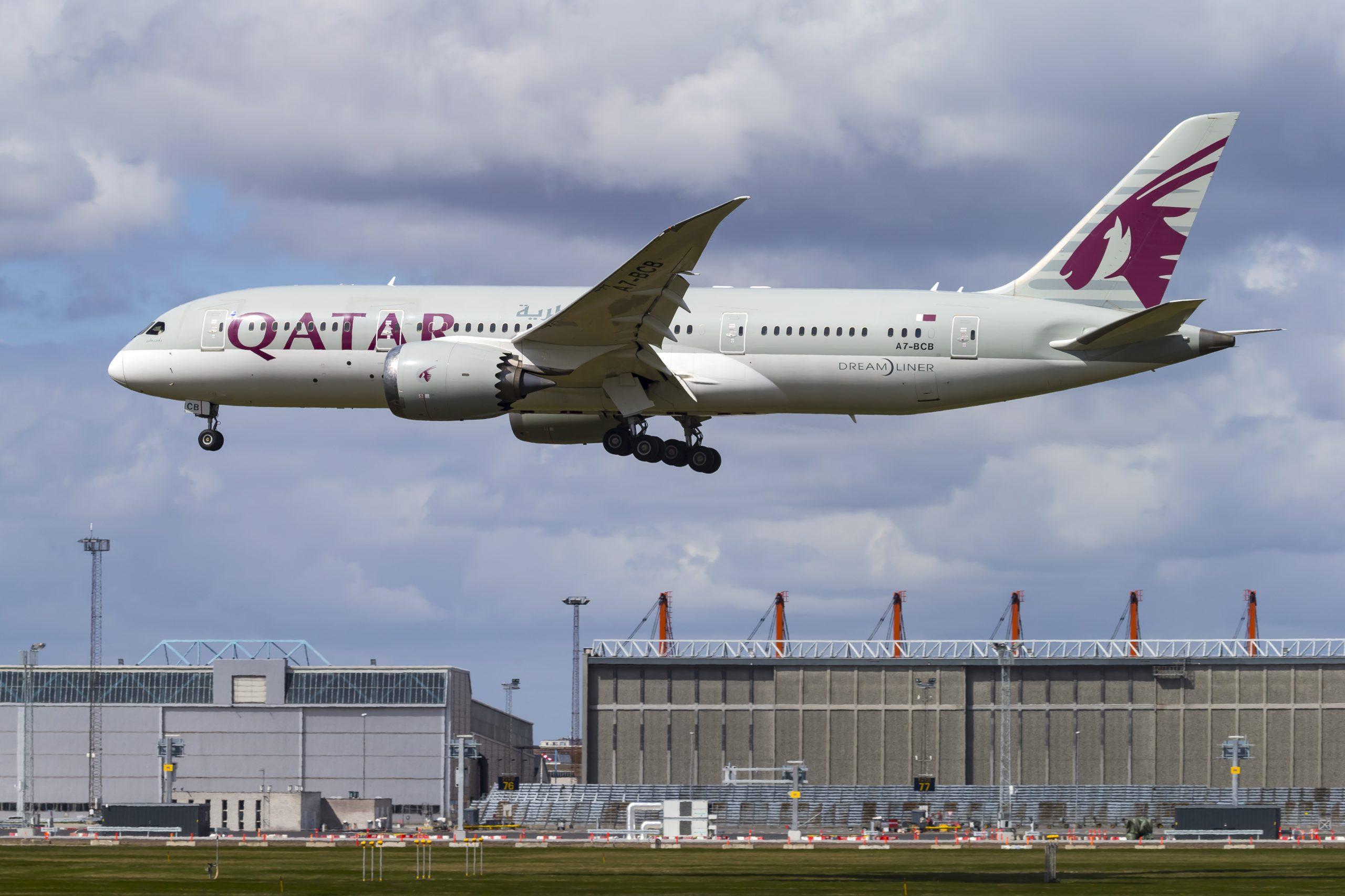 Boeing 787-8 Dreamliner fra Qatar Airways under landing i Københavns Lufthavn. (Foto: © Thorbjørn Brunander Sund | Danish Aviation Photo)