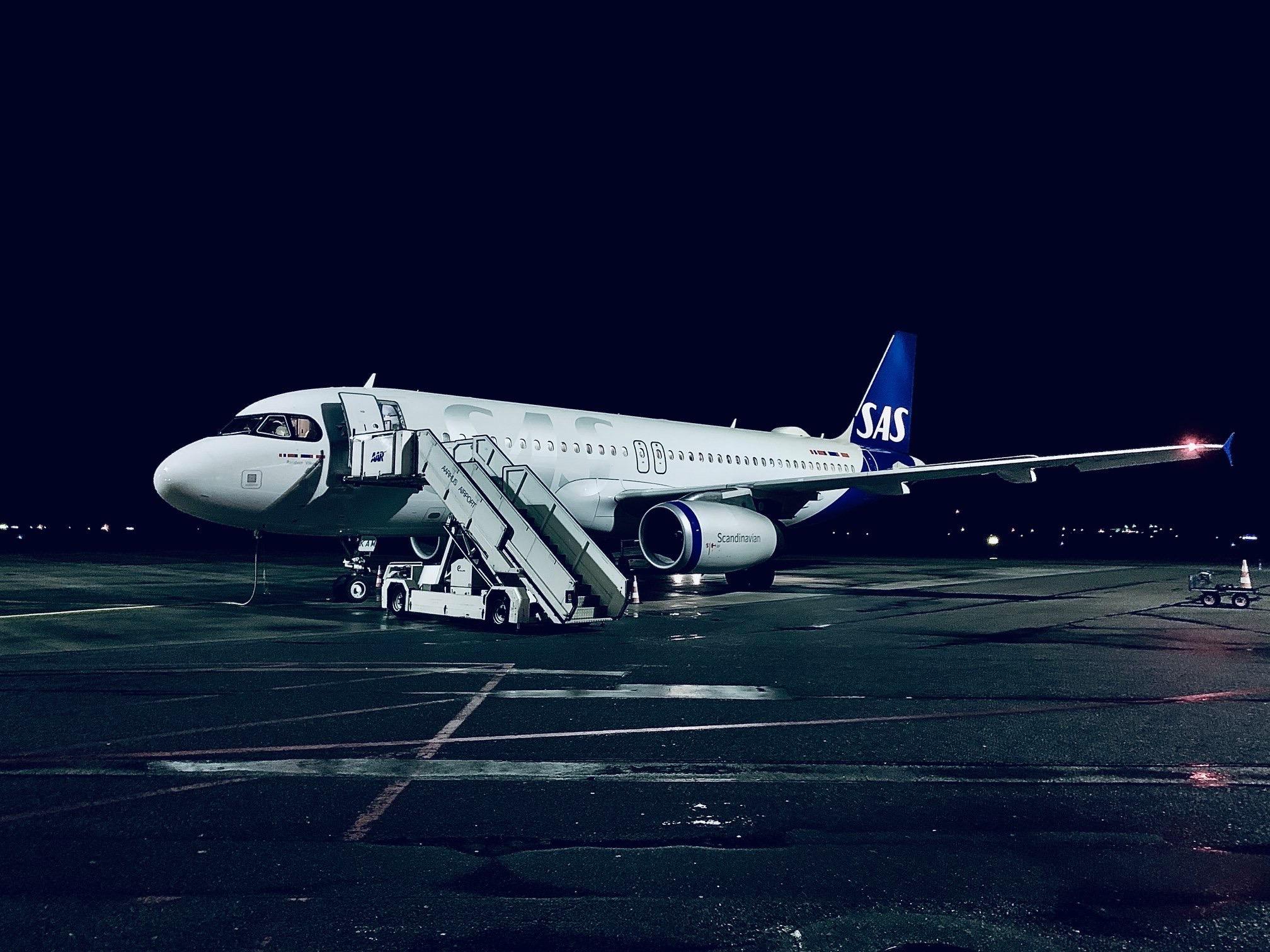 Airbus A320 fra SAS i Aarhus Lufthavn. (Foto: Aarhus Lufthavn | PR)