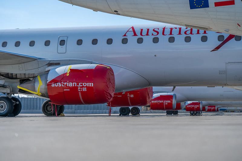 Austrian Airlines-flåden på jorden i Vienna Airport. (Foto: Austrian Airlines_Florian Schmidt)