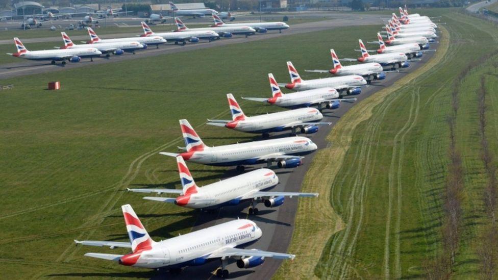 British Airways fly parkeret i Bournemouth Airport. (Foto: NPAS)