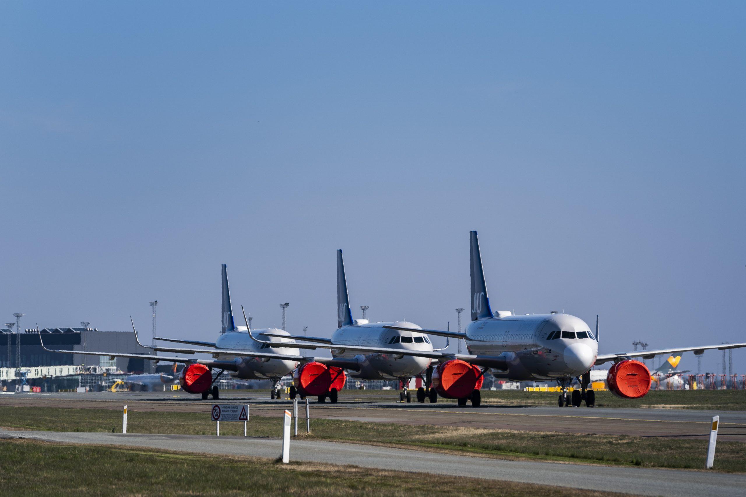 Parkerede SAS-fly i Københavns Lufthavn. (Foto: Martin Sylvest/Ritzau Scanpix 2020)