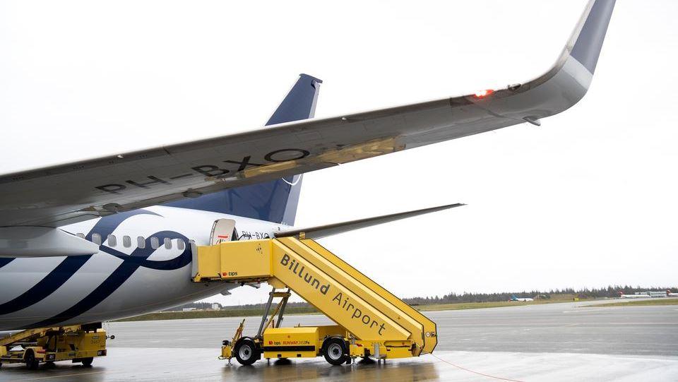KLM-fly i SkyTeam-bemaling i Billund Lufthavn. (Foto: Billund Lufthavn   PR)