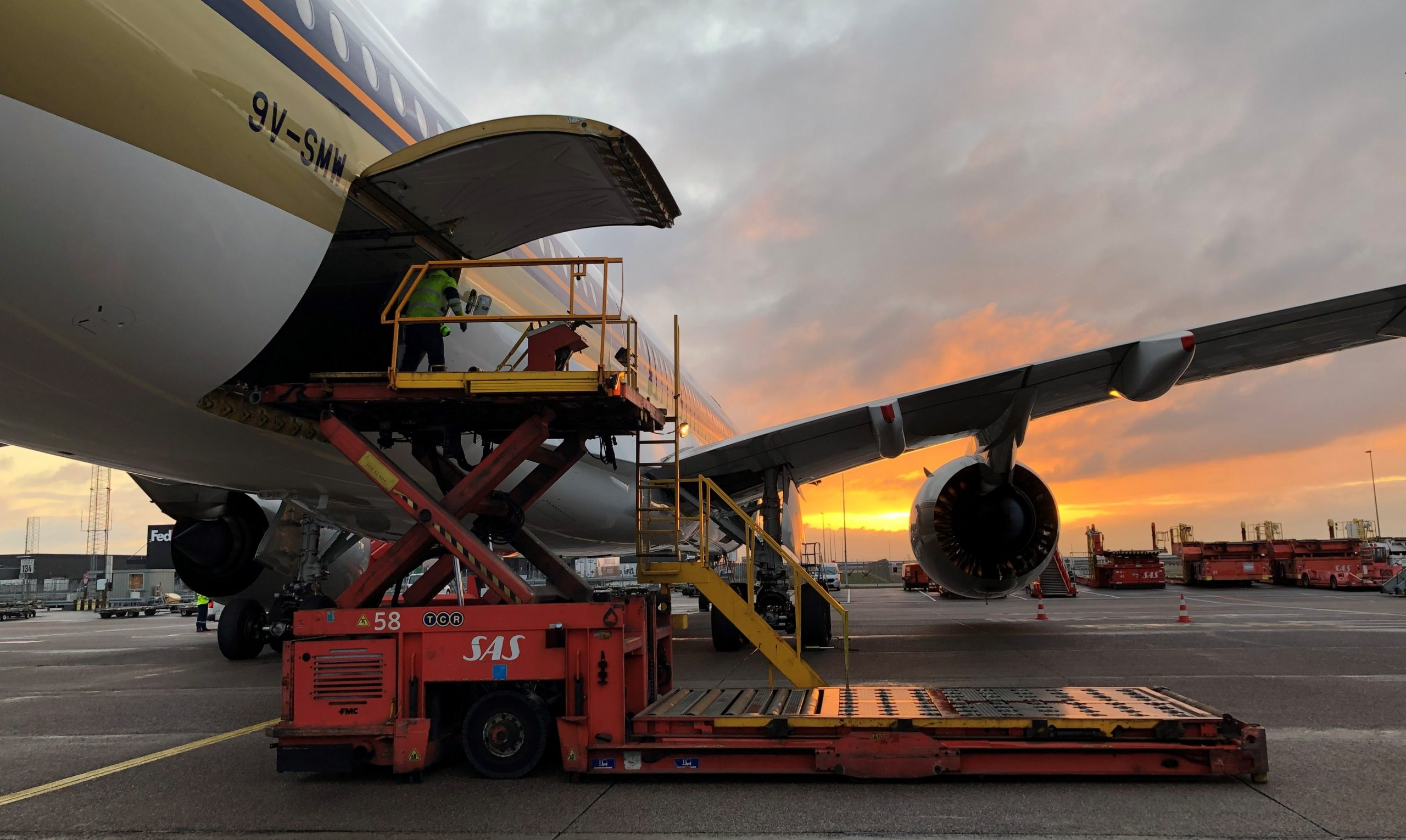 Singapore Airlines-fly er ankommet til Københavns Lufthavn med medicinsk udstyr. (Foto: Singapore Airlines   PR)