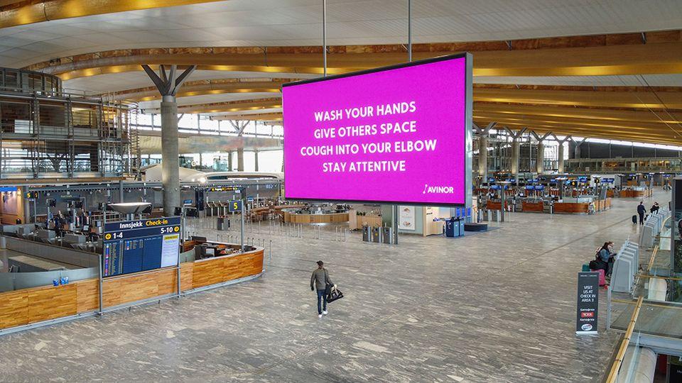 Oslo Lufthavn under coronakrisen. (Foto: Avinor | PR)