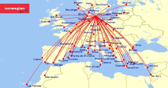 Norwegian har udbudt 67 ruter fra Danmark i sommeren 2020. (Grafik: CHECK-IN.dk/gcmap.com)
