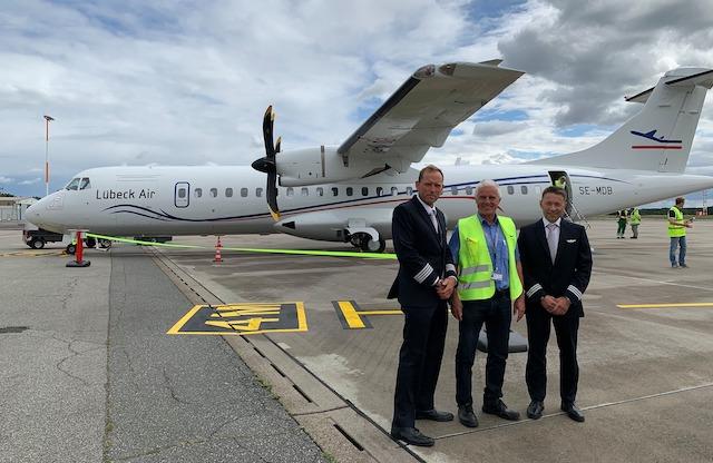 Præsentationen af det nye ATR-72-500 i lufthavnen i Lübeck. Foto: Flughafen Lübeck