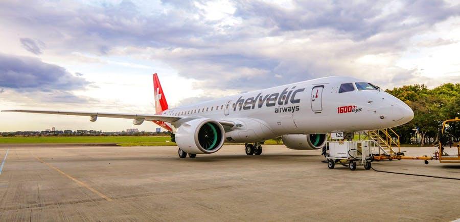 Helvetic Airways' femte Embraer E190-E2 i Brasilien før rekordflyvningen over Atlanterhavet. Foto: Embraer