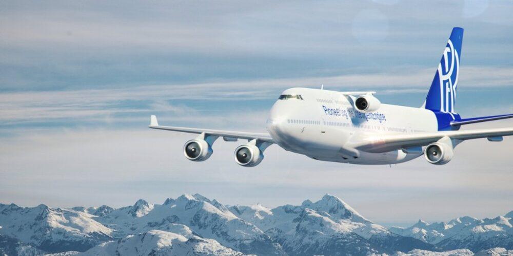 En model af Boeing 747-400-flyet efter ombygning til testfly hos Rolls-Royce. Illustration: Rolls-Royce