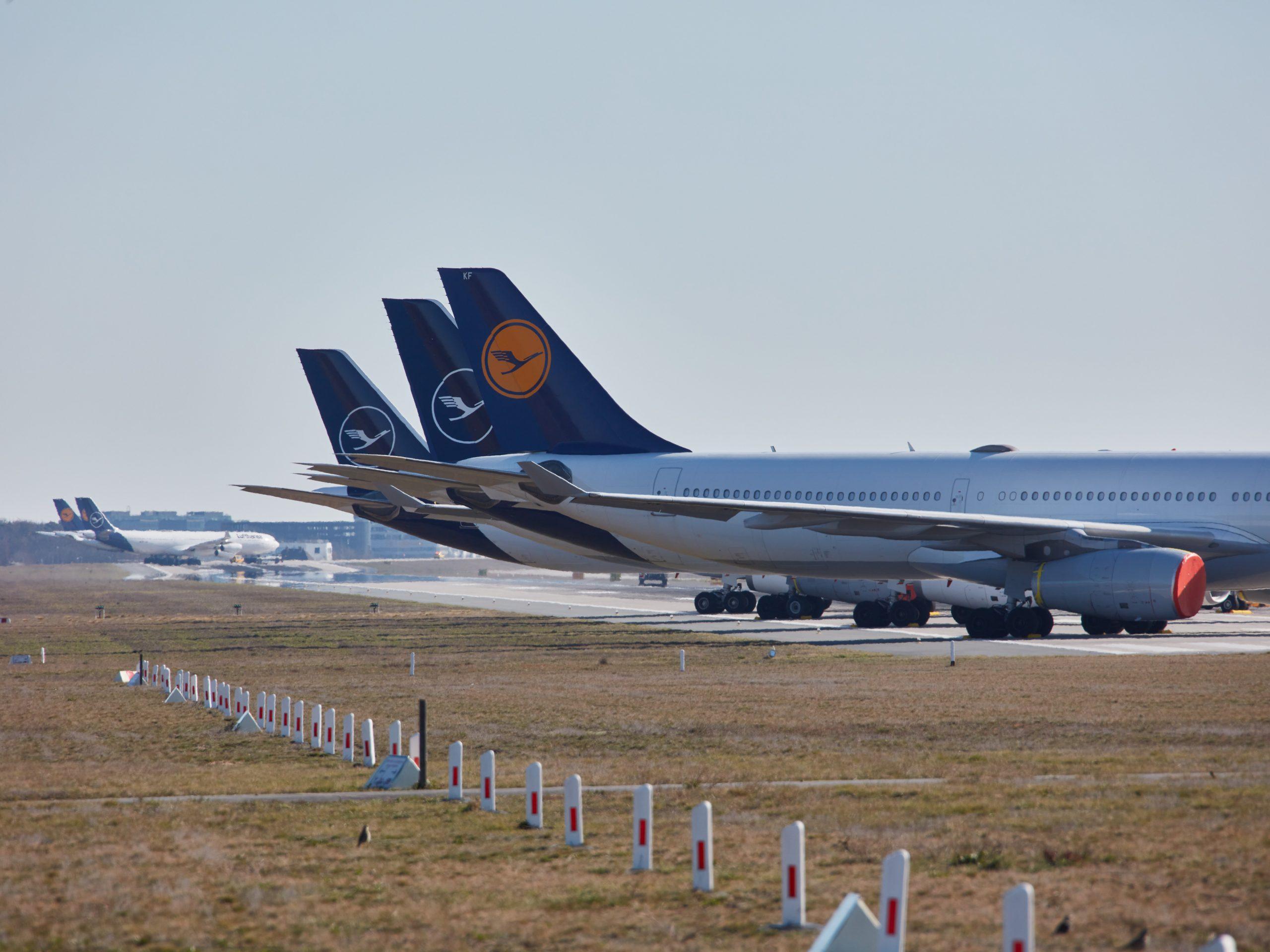 Parkerede Lufthansa-fly i Frankfurt Lufthavn. (Foto: Oliver Roesler/Lufthansa)