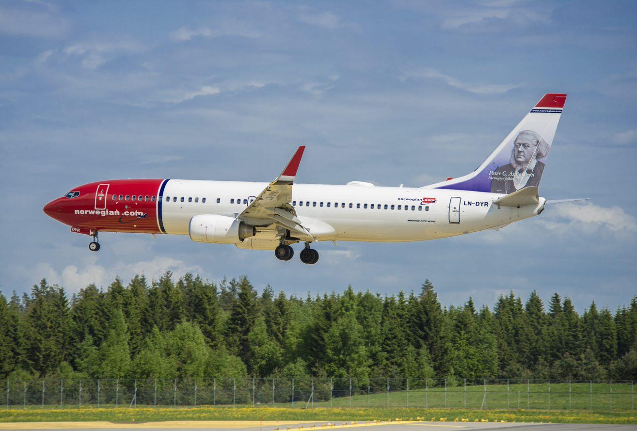 En Boeing 737-800 fra Norwegian. Foto: Norwegian/Lufthansa Technik
