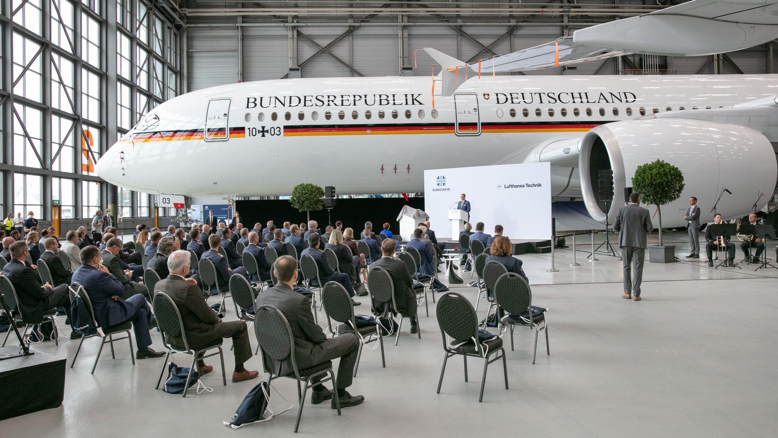 Overlevering af A350-regeringsflyet til Luftwaffe. (Foto: Lufthansa Technik | PR)