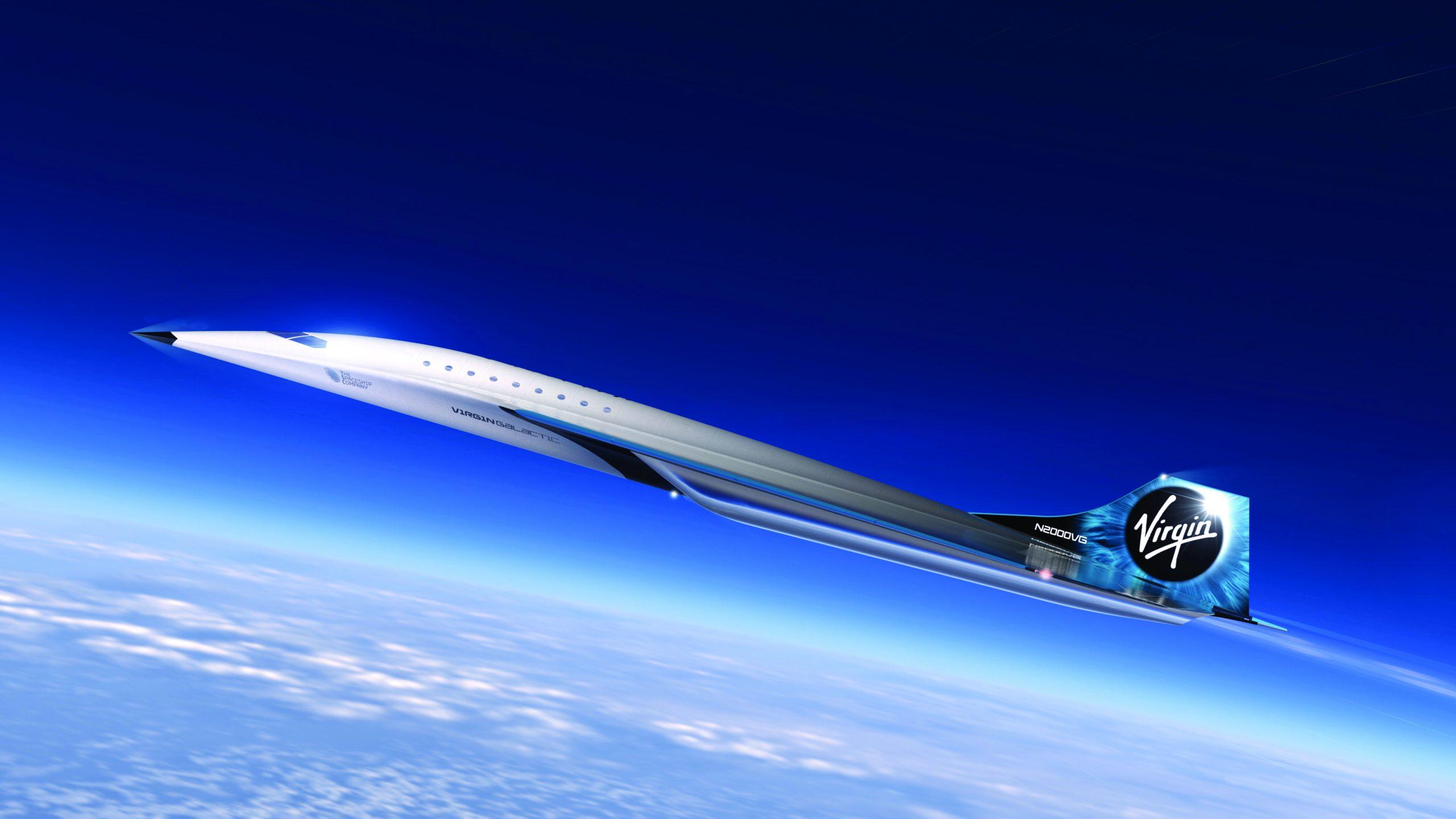 Designet af et nyt supersonisk fly fra Virgin Galactic, som skal kunne flyve med Mach 3 og medtage op til 19 passagerer. Foto: Virgin Galactic