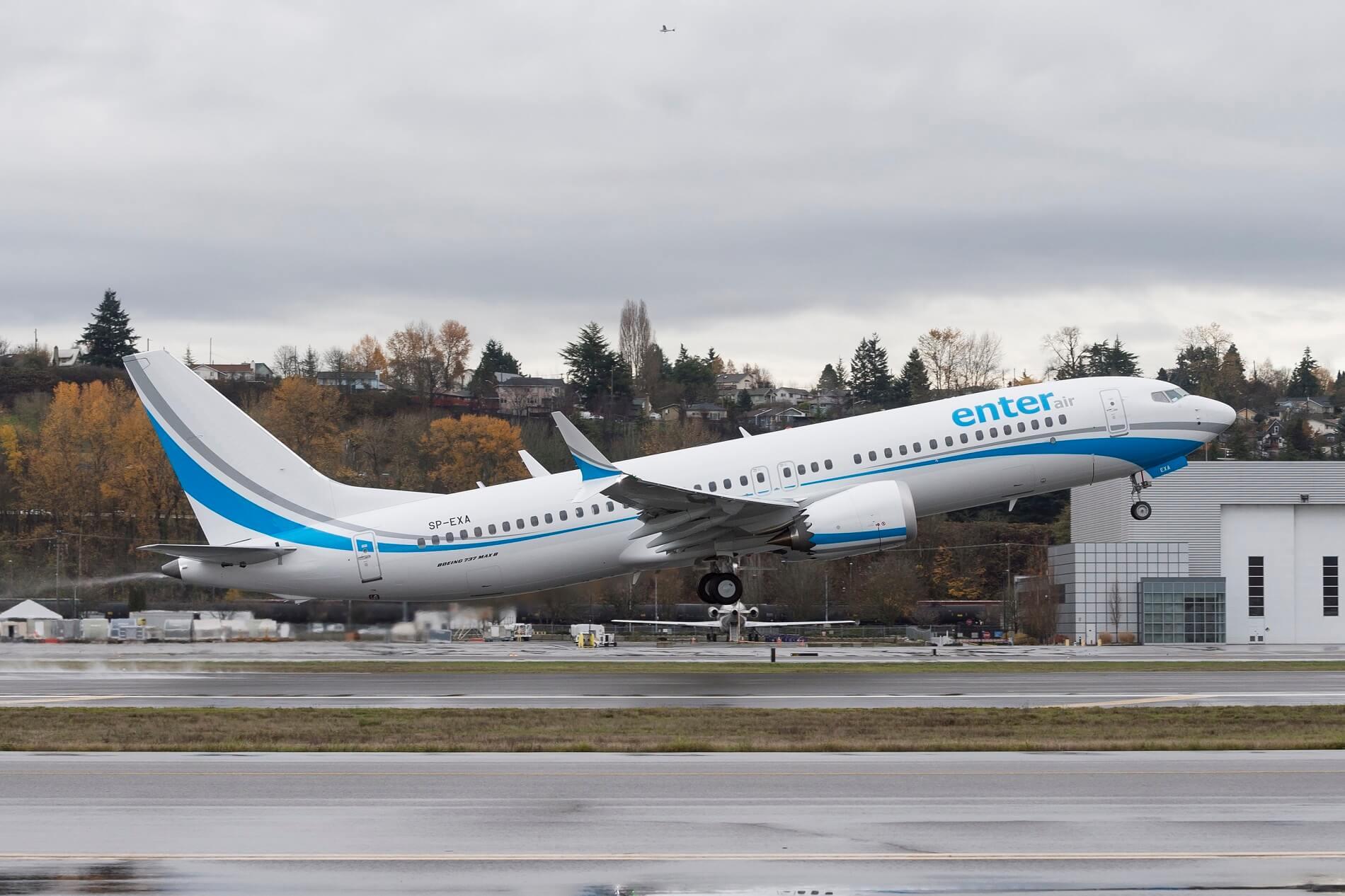En Boeing 737 MAX 8 fra det polske charterflyselskab Enter Air. Foto: Boeing